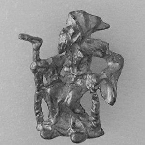 Pewter Wizard, Sitting, with Staff. Very detailed